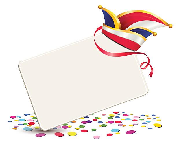 karneval-mütze mit karte und konfetti - köln stock-grafiken, -clipart, -cartoons und -symbole