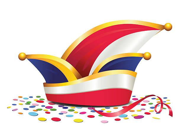 karneval-mütze mit konfetti, deutsche carnival narrenkappe - köln stock-grafiken, -clipart, -cartoons und -symbole