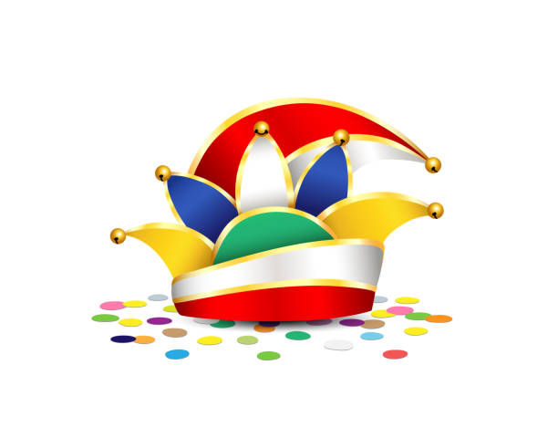 karneval hut mit konfetti, traditionellen deutschen karneval kanzleipapier vektor-illustration isoliert auf weißem hintergrund - köln stock-grafiken, -clipart, -cartoons und -symbole