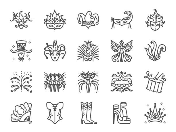 Carnival icon set. Included the icons as mardi gras, celebration, event, cabaret, entertainment and more. Carnival icon set. Included the icons as mardi gras, celebration, event, cabaret, entertainment and more. corset stock illustrations