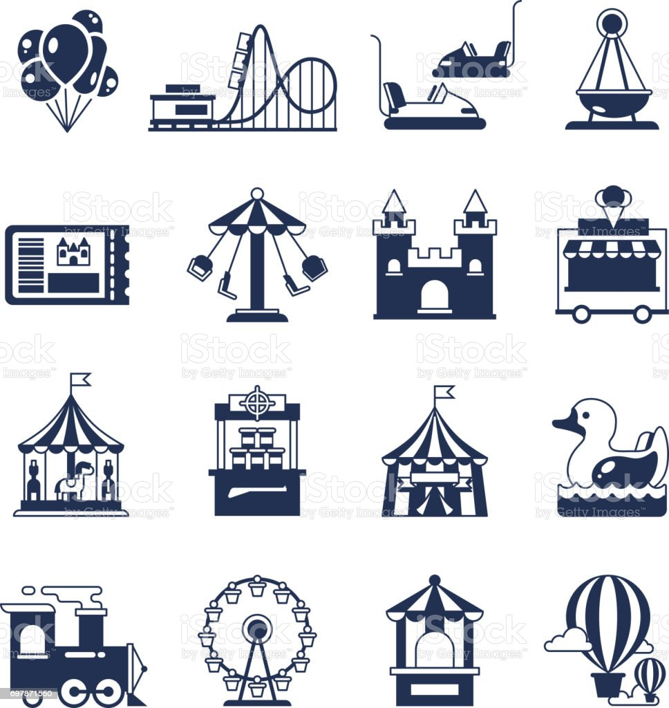 Carnival in amusement park with carousel and circus. Attractions vector icons vector art illustration