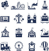 Carnival in amusement park with carousel and circus. Attractions vector icons