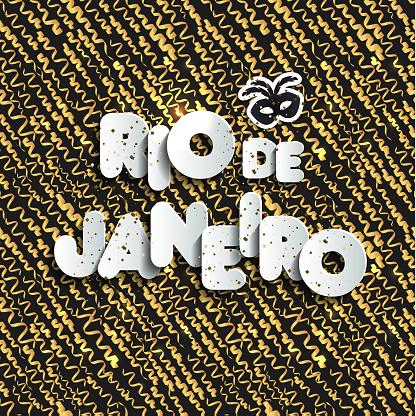 Carnival in Rio de Janeiro on gold seamless pattern