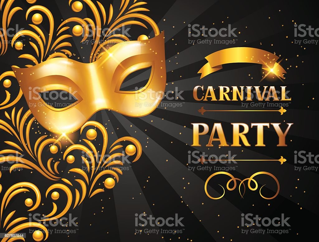 Carnival invitation card with golden mask celebration party carnival invitation card with golden mask celebration party background royalty free carnival invitation card stopboris Images