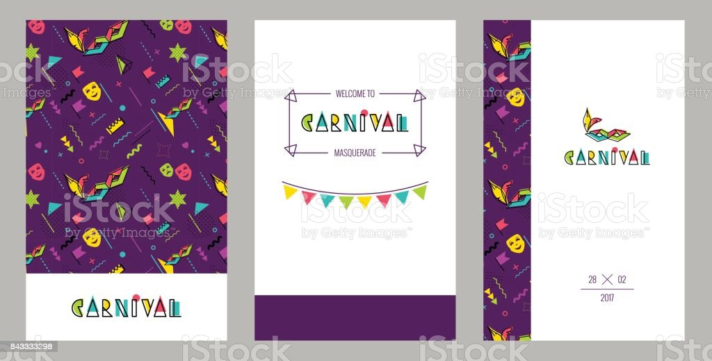 Carnival invitation cards in 80s retro style. vector art illustration