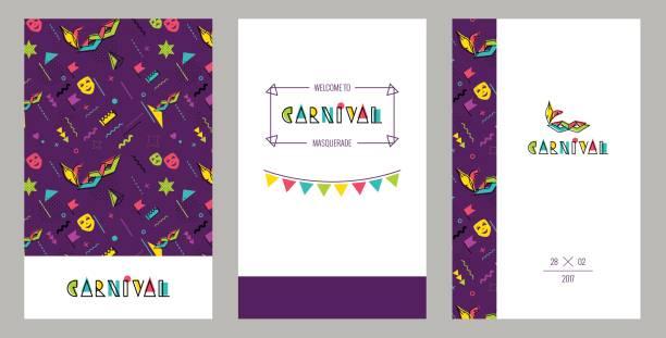 ilustrações, clipart, desenhos animados e ícones de cartões de convite de carnaval em 80s estilo retro. - carnaval