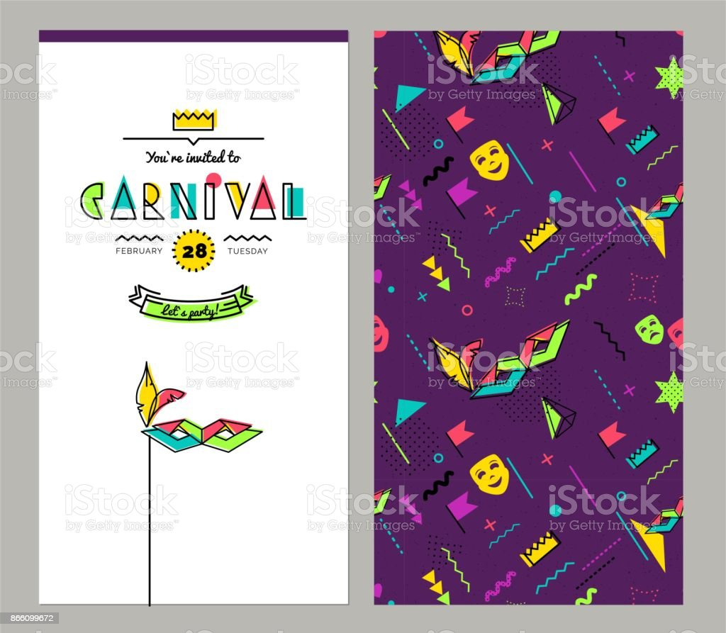 Carnival invitation cards in 80s style. vector art illustration