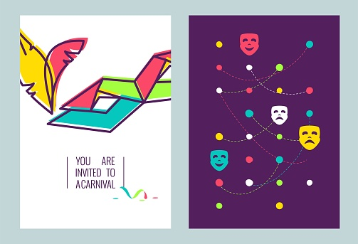 Carnival invitation cards. Mardi Gras Party Poster.