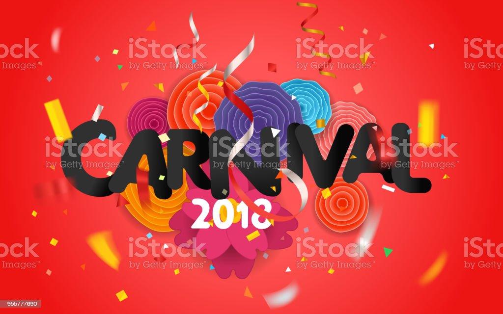 Flores de papel de carnaval invitación vector tarjeta wwith - ilustración de arte vectorial