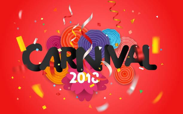 ilustrações, clipart, desenhos animados e ícones de carnaval convite vetor cartão wwith as flores de papel - carnaval