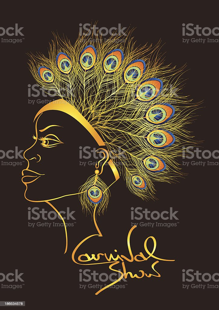 Carnival invitation with woman in peacock feathers headdress vector art illustration