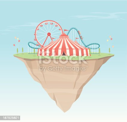 A retro style illustration of a big top circus tent, roller coaster and ferris wheel on a floating island. This is an editable EPS 10 vector illustration with CMYK color space.