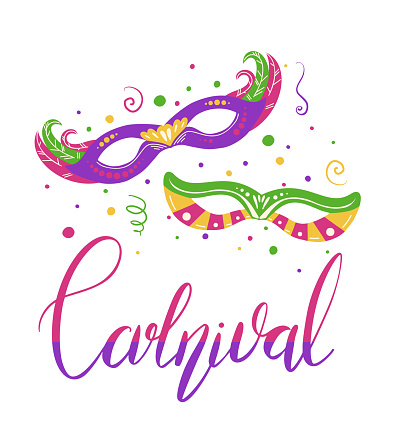Carnival. Lettering brush with couple flat masquerade masks on white background. Festive calligraphy quote. Vector vertical element
