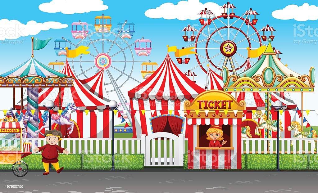 Carnival  many rides  shops vector art illustration