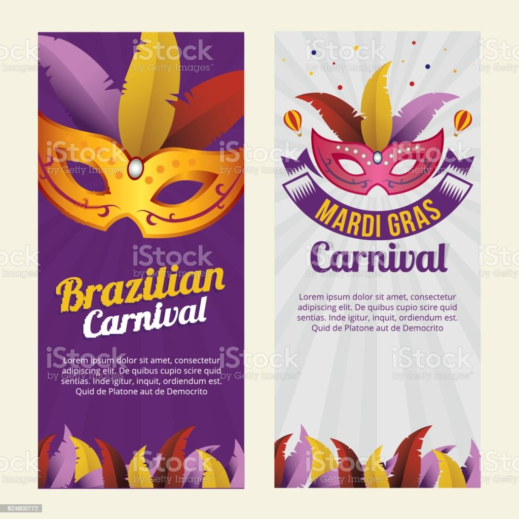 Carnival Mardi Gras background invitation flyers with Mask vector art illustration
