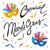 Vector Illustration of a festive and colourful Carnival Masks and Mardi Gras Clip Art and lettering Card