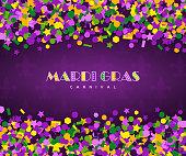 carnival mardi gras confetti on dark background