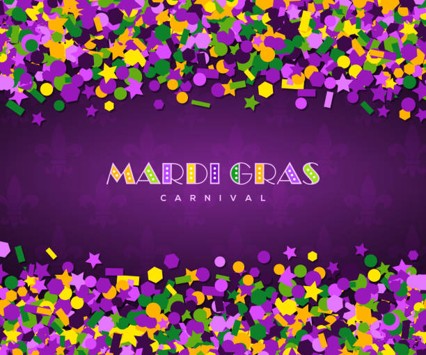 carnival mardi gras confetti on dark background Colorful carnival mardi gras confetti greeting card. Vector illustration. Violet, green and yellow small sequins salute on dark background. Place for your text message. Party invitation mardi gras stock illustrations