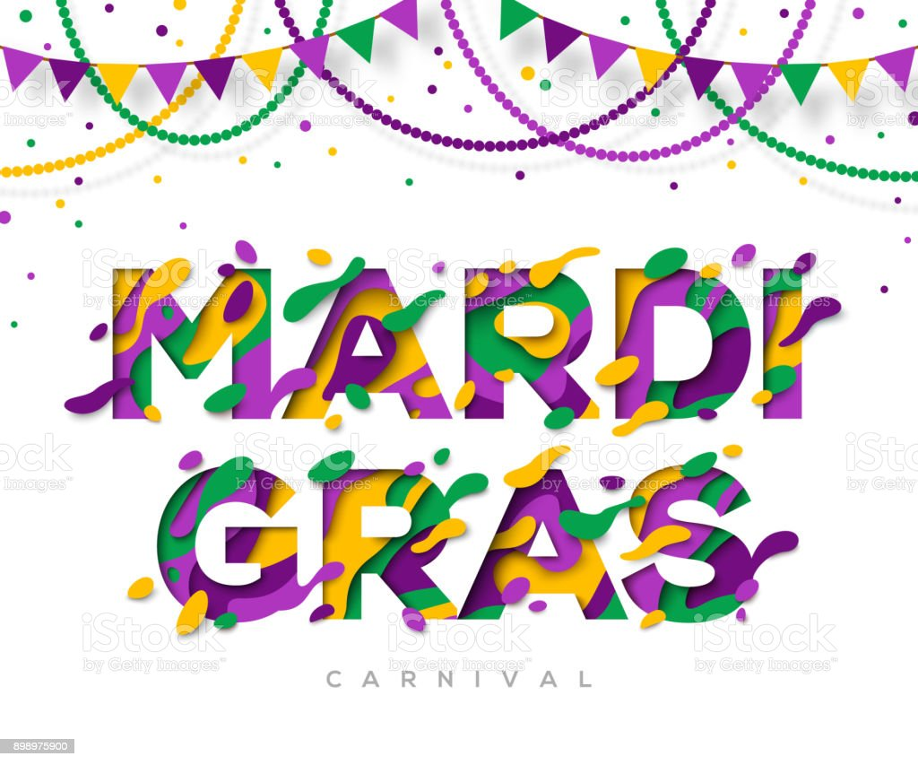 Carnival Mardi Gras greeting card with typography design - Royalty-free Art stock vector
