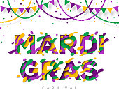 Carnival Mardi Gras greeting card with typography design and abstract paper cut shapes. Vector illustration. Colorful 3D carving art. Mardi gras beads and garlands