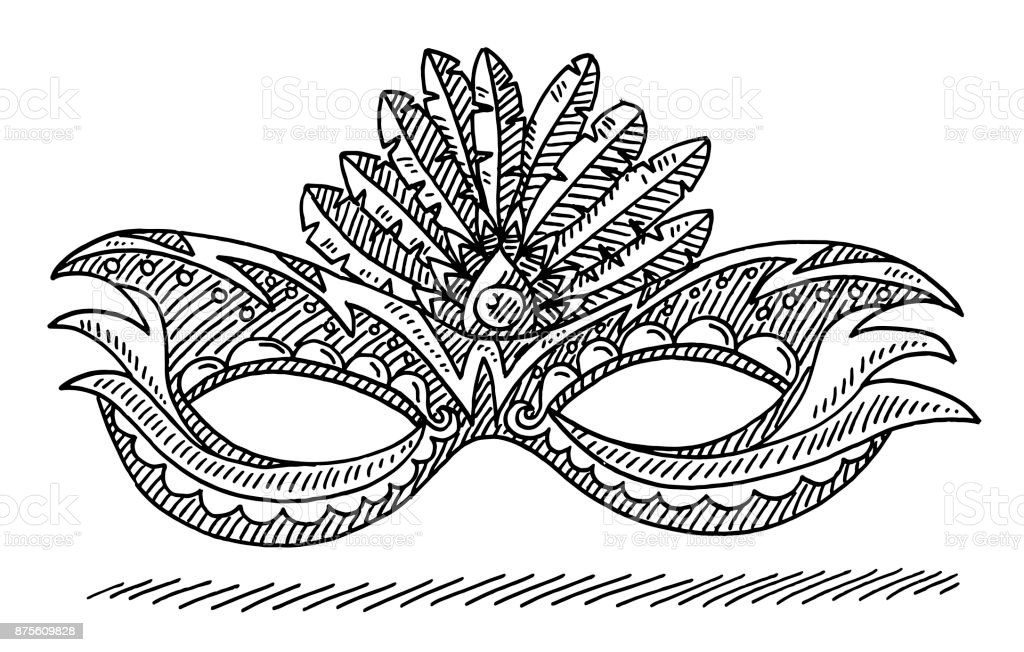 Carnival Mask Brazilian Drawing vector art illustration