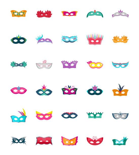 De iconos Vector plano máscara de carnaval - ilustración de arte vectorial