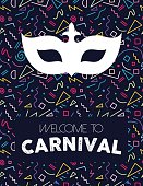Colorful retro line art background with carnival mask silhouette and text label. EPS10 vector.
