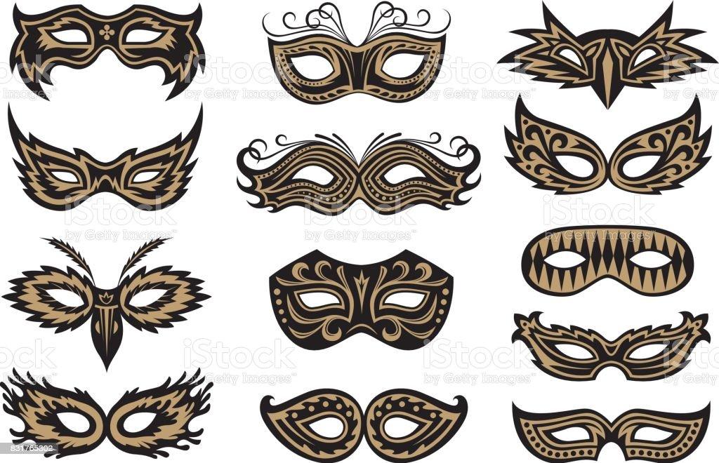 Ensemble de Masque de carnaval - Illustration vectorielle