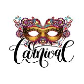 carnival mask silhouette with ornamental floral feather and hand