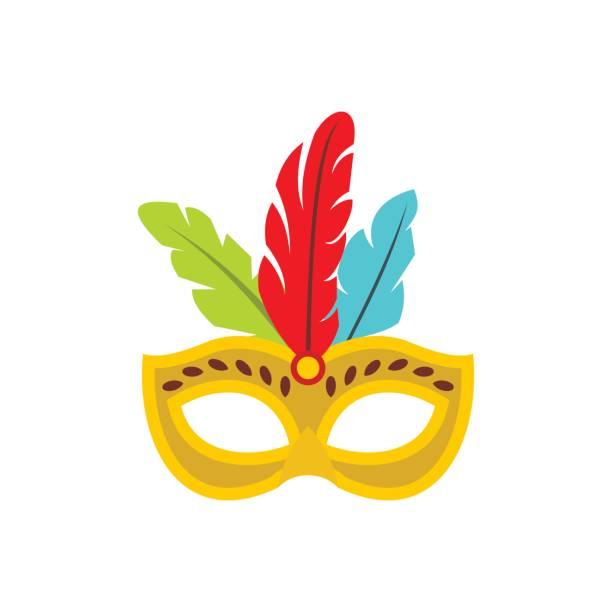 Karnevalsmaske mit Federn Symbol, flachen Stil – Vektorgrafik