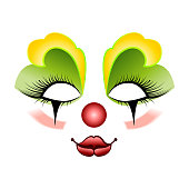 Carnival mask with yellow and green shadows over the eyes on an isolated background. Vector