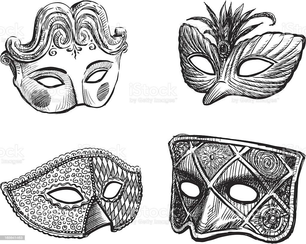 carnival masks vector art illustration