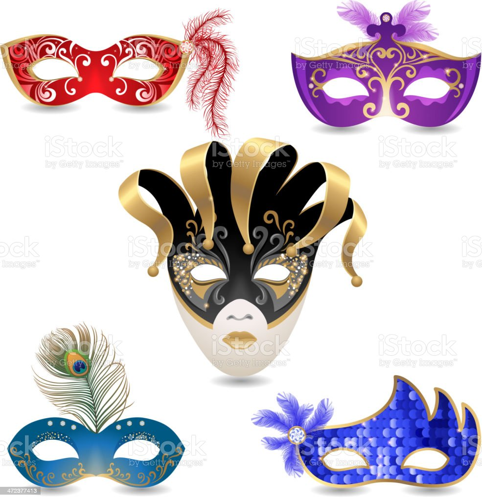 Carnival masks vector art illustration