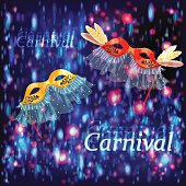 Carnival masks with feathers and veil