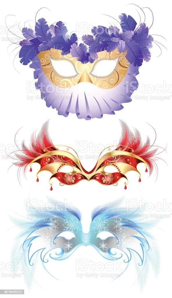 carnival masks with feathers vector art illustration