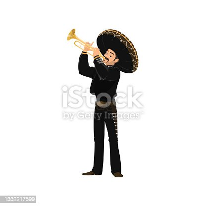 istock Carnival musician Mariachi plays trumpet isolated 1332217599