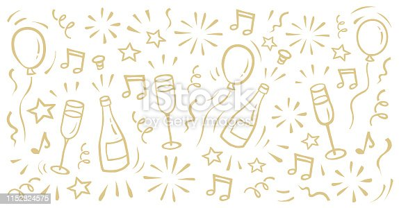 New Year's Eve background with balloons, fireworks, champagne bottle, glasses, stars. Hand-drawn graphic.You can edit the colors or sizes easily if you have Adobe Illustrator or other vector software. All shapes are vector