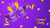 Carnival Party background with 3d realistic mask, balls, ribbon and feather vector illustration