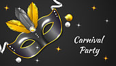 Carnival Party background with 3d realistic mask, ribbon and feather, in black and gold color vector illustration
