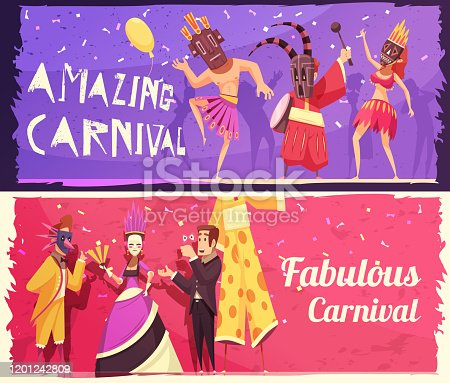 Colorful set of two horizontal cartoon banners with people wearing costumes at carnival party isolated vector illustration