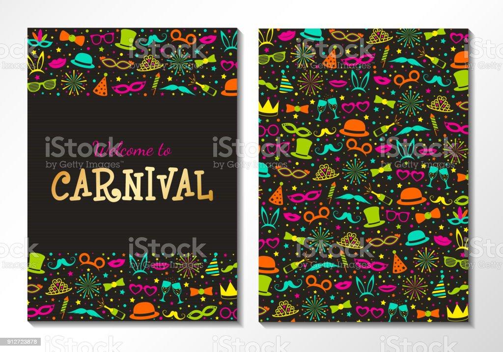 Ilustración De Tarjeta De Fiesta Carnaval Invitación Cara