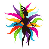 Carnival party card with samba dancer and colorful decorative feathers