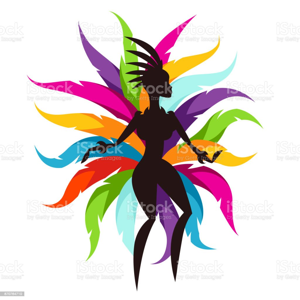 Carnival party card with samba dancer and colorful decorative feathers vector art illustration