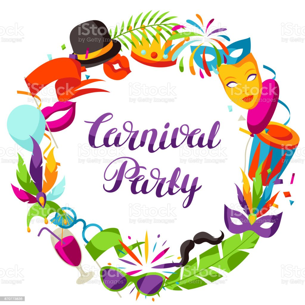Carnival party frame with celebration icons, objects and decor vector art illustration