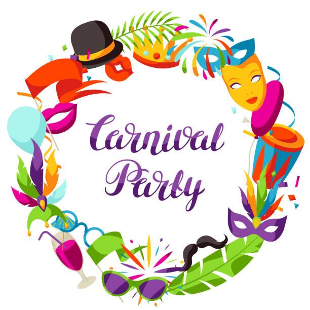 stockillustraties, clipart, cartoons en iconen met carnaval partij frame met viering iconen, objecten en decor - tamboerijn