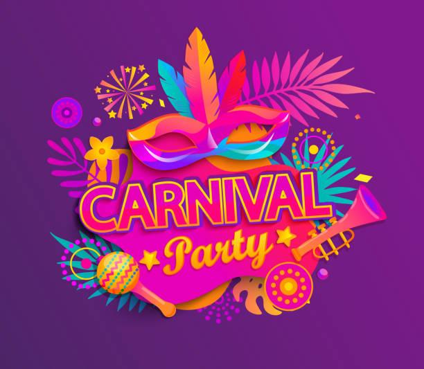 ilustraciones, imágenes clip art, dibujos animados e iconos de stock de tarjeta de invitación a la fiesta de carnaval. - carnaval
