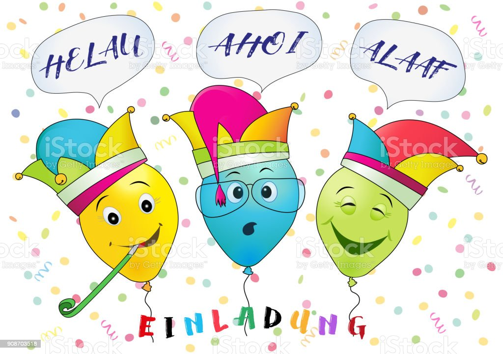 Karneval Party Einladung Lustige Karneval Luftballons Mit Helau Ahoi