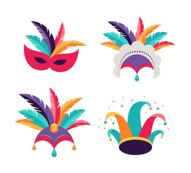 ilustrações, clipart, desenhos animados e ícones de carnaval, partido, fundo de purim. máscaras, chapéu de palhaço, cocar dançarino - carnaval