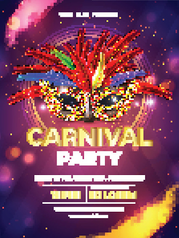 Carnival party template or flyer design with realistic party mask on purple bokeh background.