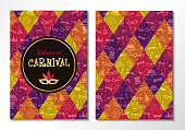 Carnival Party - two sided invitation card with funny texture. Vector.